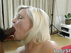 Three adult British grannies railed unchanging by multiform unchanging cocks