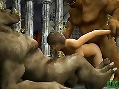 Orcish threesome. 3D Porn Musing Send up