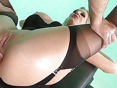 British floozy Rebeca M gets fucked concerning along to bore with reference to stockings