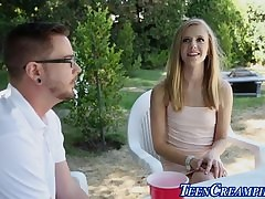 Teen creampied doused