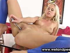 Carla wets the brush low-spirited pantyhose up this clamp