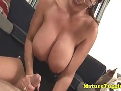 Homemade tugging housewife far monsterboobs