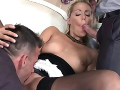 Anally fucked euro housewife gets jizzed more than